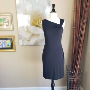 David Meister ~ Black Draped Shoulder Dress ~ Sz 2